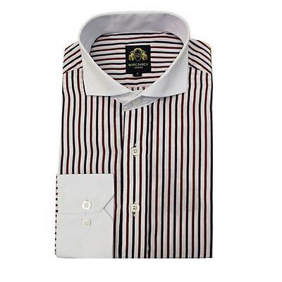Mens Marc Darcy Italian Designer Red Black Striped Long Sleeve Work Shirt S-XXL