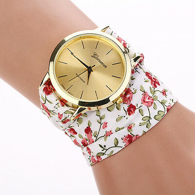 Womens Geneva Rose Cloth Band Quartz Analog Fashion Dress Bracelet Wrist Watch