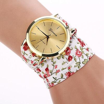 Womens Geneva Rose Cloth Band Quartz Analog Fashion Dress Bracelet Wrist Watch