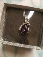 Mabella PWS003CR Sterling Silver Simulated Pendant Necklace - Ruby