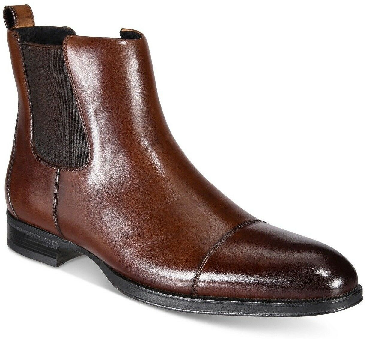 Alfani Men's Martin LEATHER Boots Cap Toe Slip On Dress Boots Size 10.5 M