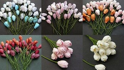 PACK 10  BEAUTIFUL SPRING TULIPS FOR CARDS AND CRAFTS 6 COLOURS TO CHOOSE