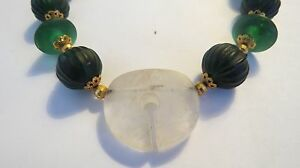 THAILAND-ANCIENT-MULTI-COLOR-Green-Carnelian-JADE-Beads-Hand-Carved-Necklace