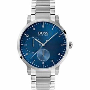 Hugo-Boss-1513597-Oxygen-Blue-Dial-Silver-Tone-Bracelet-Men-039-s-Wrist-watch