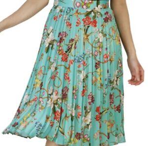 PINKO-Rock-Skirt-Gonna-gruen-gemustert-green-Flower-Print-IT-40-DE-34-NEU-NP-229