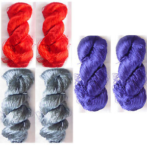 Knit Work NW Multi Silk LOT 8 Skeins Yarn Lace Fabric Sari Crochet Woven Thread