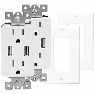 'TOPGREENER Electrical Wall Outlet with USB Charger 15A Receptacle White - 2 Pack' from the web at 'https://i.ebayimg.com/images/g/-zgAAOSwacdZbjZe/s-l300.jpg'