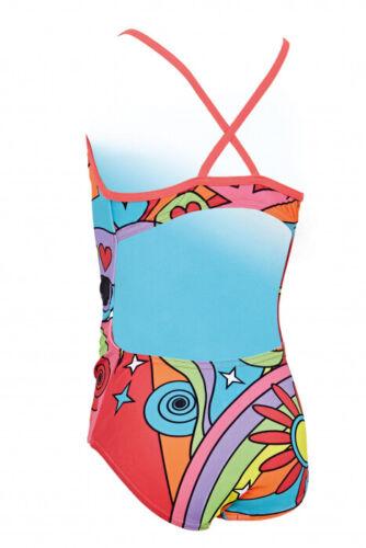 Zoggs Girls Celebrate Bella Crossback Swimming Costume Age 5-6 11-12 Hearts