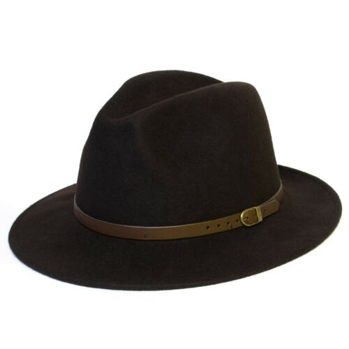 Wool Felt Handmade Fedora Hat Dark Brown 55 Cm  6b506ba4af54