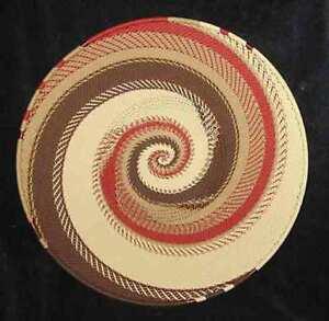 Desert Sands Handmade African Zulu Telephone Wire Basket/Platter LARGE - Kwanzaa