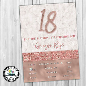 Rose Gold Marble Personalised Birthday Party Invitations 18th