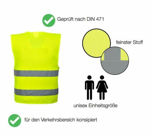 4X Warnwesten Auto EN471 Warnweste Pannenweste Neon Gelb Sicherheitsweste