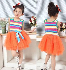 NEUF-Mignonnes-filles-raye-fete-Robe-en-orange-jaune-rose-vif-blanc-de-3-8years
