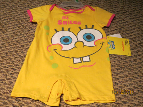 Baby Girls Nickelodeon SpongeBob Yellow and Pink Bodysuit Creeper Size 12M NWT