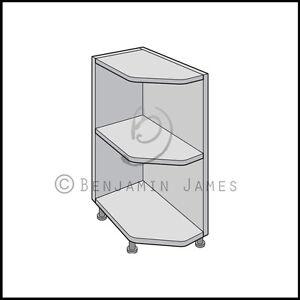 Image Is Loading Kitchen Carcass Unit Angled End Shelves Base Cabinet