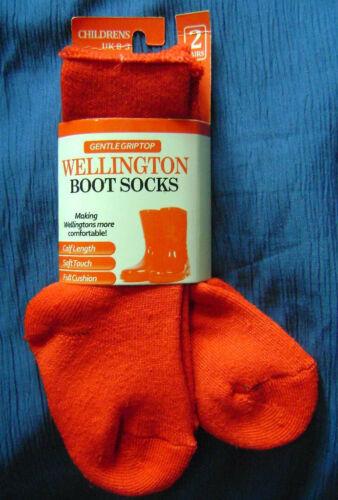 Nouveau 2 Paires Enfants tout-petits chaud Wellington wellie Boot Chaussettes Rouge PROMOTION!