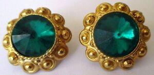 Consciencieux Boucles D'oreilles Percées Bijou Vintage Couleur Or Cabochon Vert émeraude 306