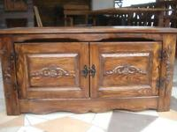 Wooden Blanket Storage Cabinet Trunk Unit Vintage Chest Shelve Furniture (id2)