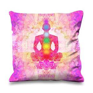 lotus pose chakras faux silk 45cm x 45cm sofa cushion