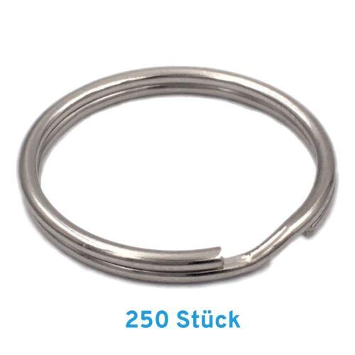 10-1000x Schlüsselringe 25 mm Edelstahl vernickelt gehärtet Key rund flach Ring