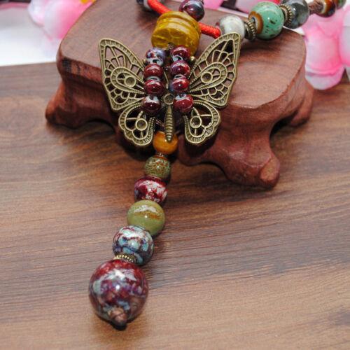 Nouveau Rétro Papillon ethnique style Handmade Ceramic Bead Collier Pendentif N260