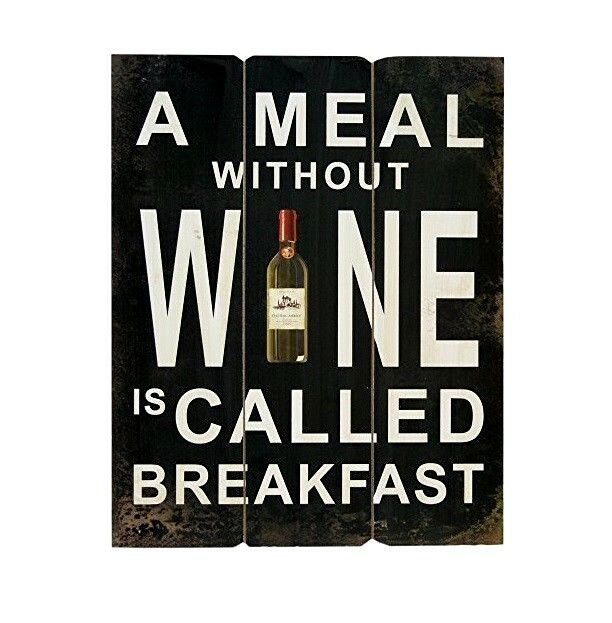 MEAL WITHOUT WINE IS CALLED BREAKFA Retro Metal Plaque//Sign Pub Bar Man Cave,