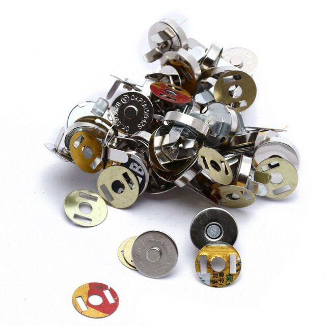 20x Silver Magnetic Clasps Snaps Buttons for Purses Handbag Bag Sewing Craf R5Y4