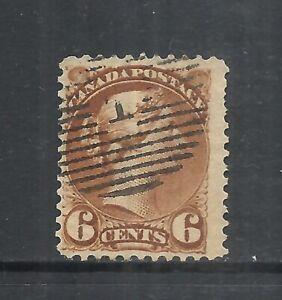 CANADA SCOTT 39 USED FINE - 1872 6c YELL BROWN ISSUE (B)   CV $27.50