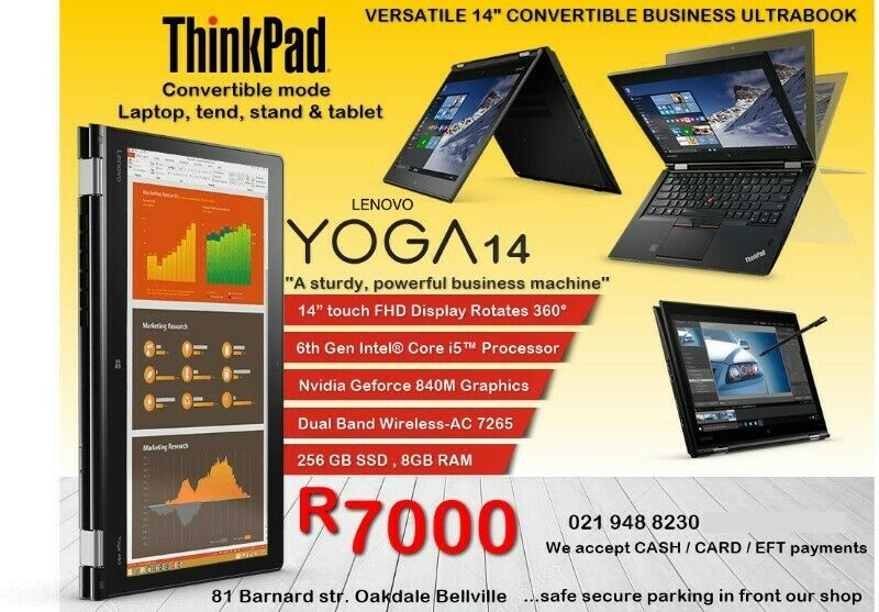 ThinkPad Yoga 14-inch FHD IPS Display Rotates 360° BUSINESS ULTRABOOK - 2 Year Warranty