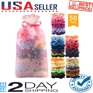 50 Pcs Premium Korean Velvet Hair Scrunchies Hair Bands Scrunchy Hair Ties Ropes