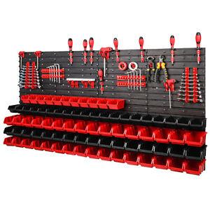 121-teiliges-SET-Lagersichtboxenwand-Stapelboxen-mit-Montagewand-Werkzeugwand