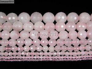 Natural-Rose-Quartz-Gemstone-Faceted-Round-Beads-15-039-039-2mm-4mm-6mm-8mm-10mm-12mm