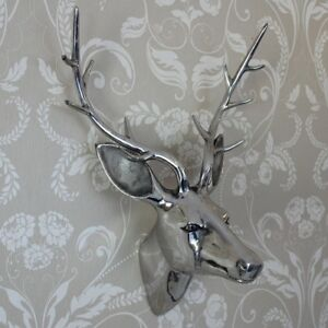 Metal-polished-silver-wall-art-hanging-stag-deer-head-decoration-ornament-gift
