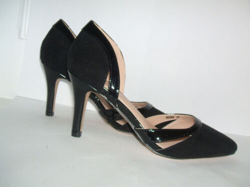 BNWB SIZE 3 OR 4 BLACK PATENT SUEDE MID HEEL OFFICE FORMAL CLASSY COURT SHOES