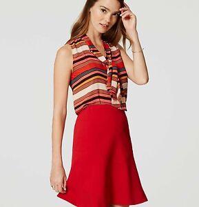 063e92861a35d NWT Ann Taylor Loft Striped tie neck Bow Blouse Top XXSP XXS Petite ...