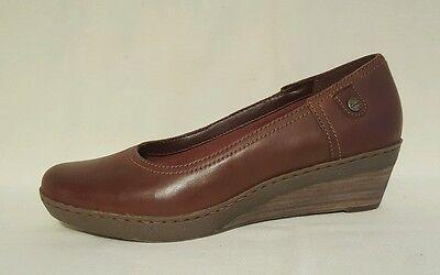 Clarks De Cuero Marrón Tostado cuñas Bailarinas Zapatos De Salón señoras UK Size 3 E Ancho