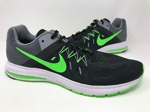 New! Men's Nike Zoom 807276-003 Winflo 2 Running Shoes - Blk/Gray/Neon Green O68