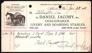 1908-Allentown-Pa-Livery-amp-Boarding-Stables-Daniel-Jacoby-Letter-Head-RARE