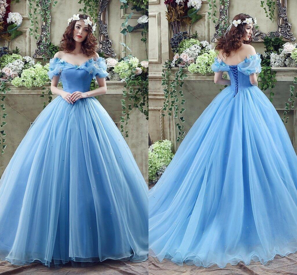 Cosplay Cinderella Wedding Dresses Ball Gown Blue Organza Princess Bridal Gowns