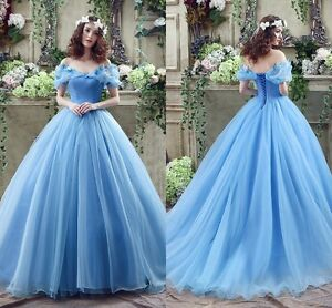 Image Is Loading Cosplay Cinderella Wedding Dresses Ball Gown Blue Organza
