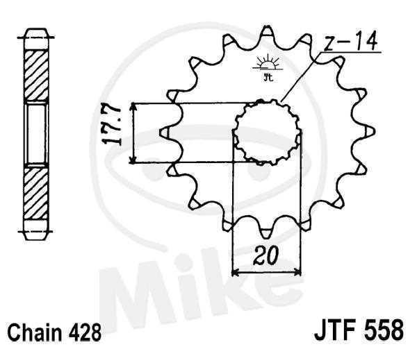 JT Piñón 16 Dientes División de 428 Conmutable / F558-16 JT Sprockets JTF558.16