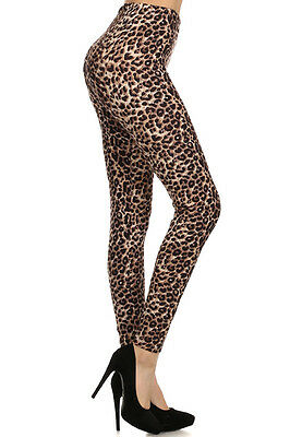 New Women's One Size Leopard Animal Print Leggings Full Long Stretchy S-XL A017