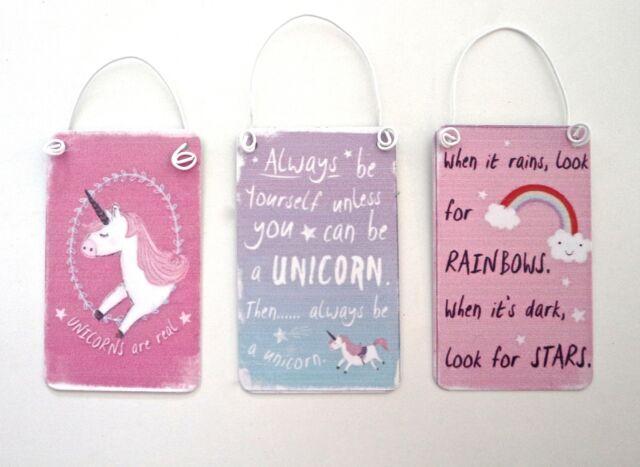 Mini metal Unicorn Rainbow hanging sign pink blue purple glitter small signs