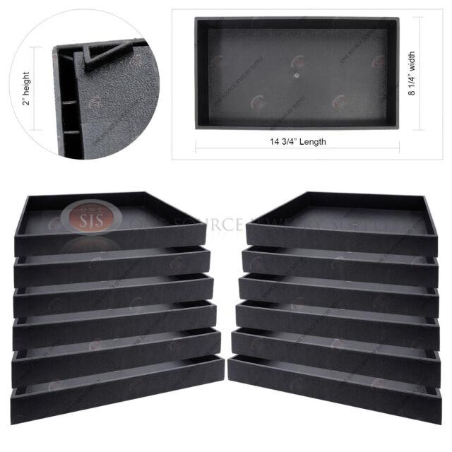 "12 Piece 2"" Deep Black Plastic Display Tray Jewelry Storage Stackable Organizer"