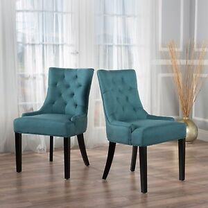 Fabric Dining Chairs Teal stacy fabric diamond tufted back dining chairs (set of 2)