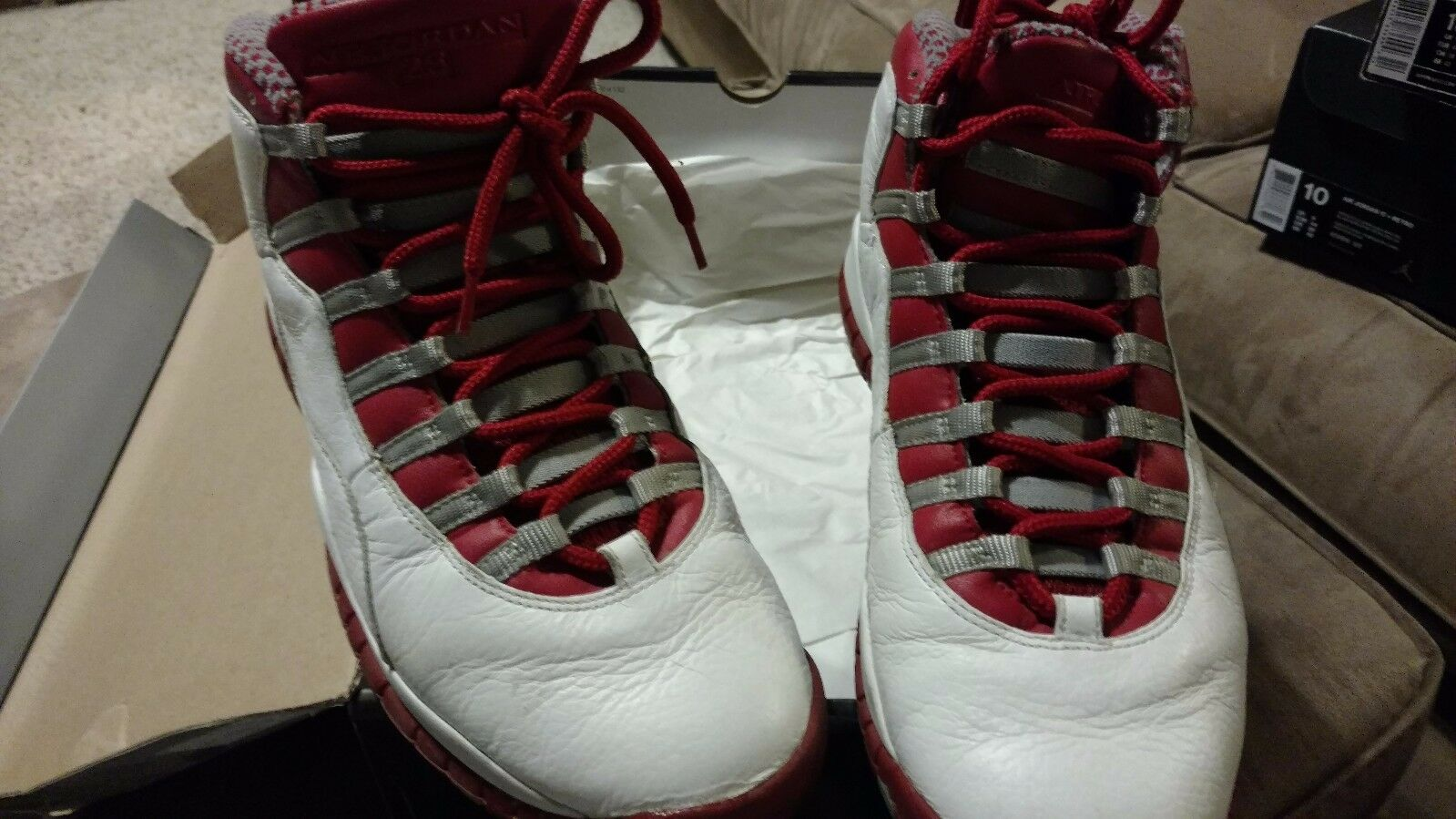 Nike 2005 Retro 10 X Jordan size 10 white, varsity red-light steel grey