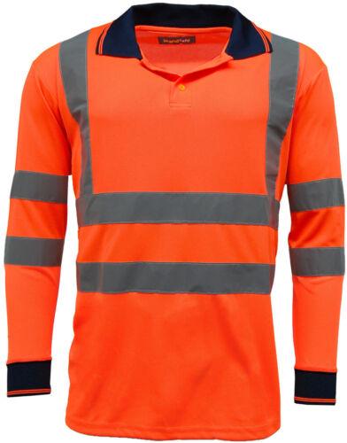 Men/'s ad Alta Visibilità Manica Lunga Polo T Shirt Hi Vis Viz sicurezza lavoro EN471 NUOVO