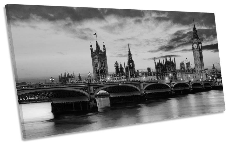 London Sunset River Thames City B&W PANORAMIC PANORAMIC PANORAMIC CANVAS WALL ART Box Frame 4d753f