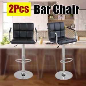 2Pcs-Adjustable-Bar-Chairs-Stools-PU-Leather-Swivel-Pub-Barstools-Set-Black-US