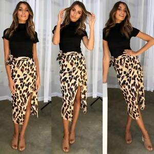 superior quality attractive style luxury Details about Women Bandage Leopard Print Split Skirts Holiday Casual Sexy  Clubwear Midi Skirt